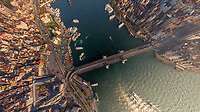 Aerial view of bridge connecting downtown Istanbul, Turkey