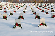 65095-02908 Wreaths on graves in winter Jefferson Barracks National Cemetery St. Louis,  MO