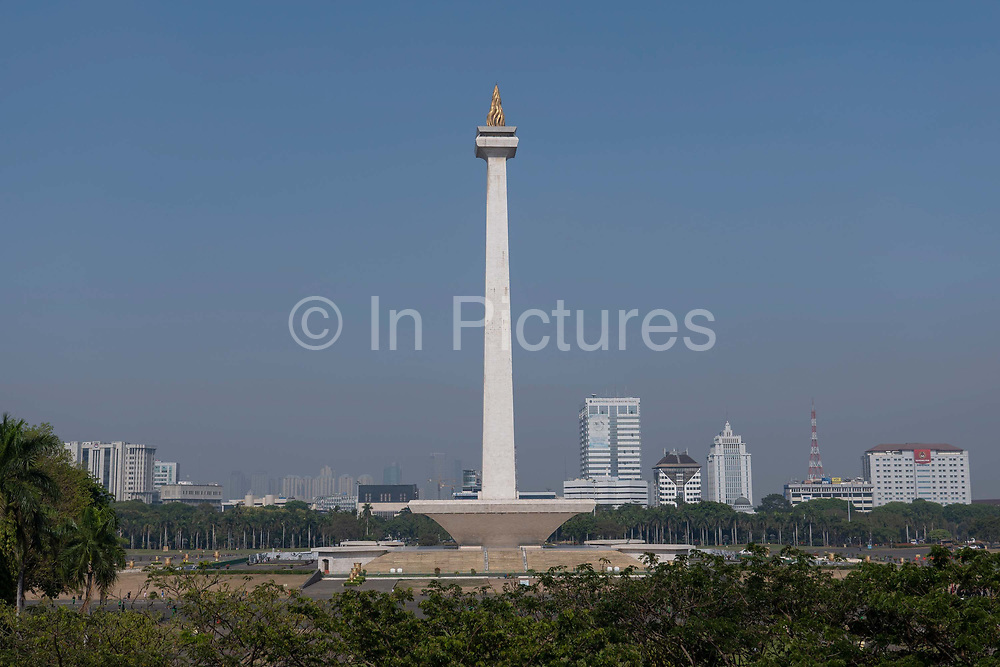 The National Monument in Merdeka Square in central Jakarta on the 22nd October 2019 in West Java in Indonesia. The national monument of the Republic of Indonesia, it was built to commemorate the struggle for Indonesian independence. Construction began in 1961 under the direction of President Sukarno.
