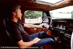 Arlen Ness driving his 1977 chopped, channelled and sectioned Ford van, CA. Photograph ©Michael Lichter 1987