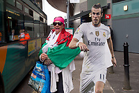 A welsh supporter of Gareth Bale otuside the National Stadium of Cardiff on the eve of the UEFA Champions League Final match between Real Madrid and Juventus at the National Stadium of Wales, Cardiff, Wales on 2 June 2017. Photo by Giuseppe Maffia.<br /> <br /> Giuseppe Maffia/UK Sports Pics Ltd/Alterphotos