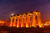 Illuminated columns, Luxor Temple, Luxor, Egypt