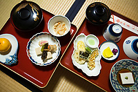 """Zen Temple food or """"Shojin Ryori"""" is Vegetarian cuisine at its finest, consisting of pickled, seasonal vegetables, a variety of tofu dishes artfully arranged on lacquerware.  Staying in a temple overnight, especially in Koyasan, is one of the best ways to get to know Japanese culture.  Part of this is experiencing """"shojin ryori"""""""