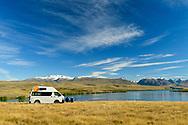Oceania, New Zealand, South Island, Southern Alps, Tekapo, Lake Alexandina, people with RV