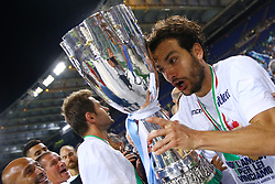 August 13, 2017 - Rome, Italy - Marco Parolo of Lazio with the cup after winning the Italian SuperCup TIM football match Juventus vs Lazio on August 13, 2017 at the Olympic stadium in Rome. (Credit Image: © Matteo Ciambelli/NurPhoto via ZUMA Press)