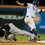 3/8/08 11:03:32 PM --- BASEBALL SPORTS SHOOTER ACADEMY 005 --- Cal State Fullerton's Joel Weeks tries to find 2nd base after sliding past the base during a close play at a baseball game at Goodwin Field on March 8, 2008. Photo by John Birk, Sports Shooter Academy