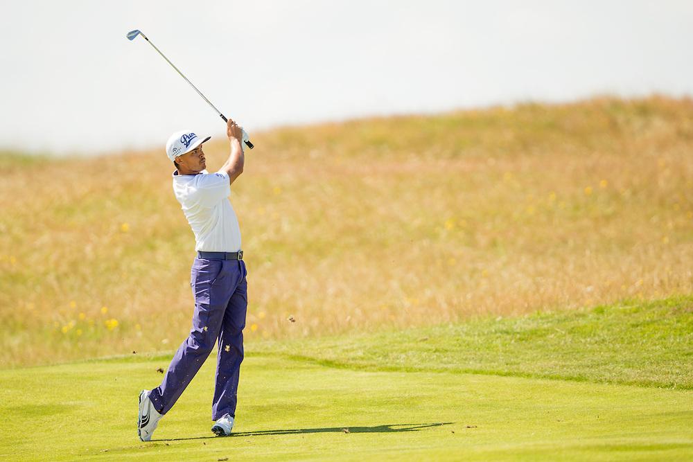 Rickie Fowler. 2014 Open Championship ( British Open ). Royal Liverpool Golf Club, Hoylake, England, July 18, 2014. © 2014 Darren Carroll