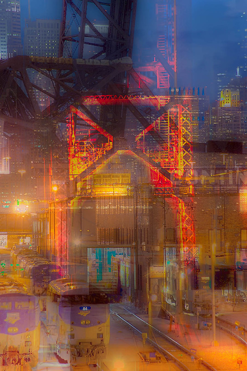 Chicago showing the rail yards, industry, commerce, financial fixtures. Hard work, hard work ethic. Photographic digital abstract image. Geometrispective.