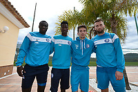 Fotball<br /> Foto: PhotoNews/Digitalsport<br /> NORWAY ONLY<br /> <br /> The new players Aristide Simon Pierre Diedhiou forward of KAA Gent, Peter Olayinka forward of KAA Gent, Wikheim Gustav midfielder of KAA Gent and Lucas Deaux midfielder of KAA Gent pictured after a training session part of the winter training camp of KAA Gent in Oliva, Spain.<br /> *** OLIVA, SPAIN - 05/01/2016