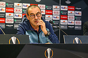 Chelsea Manager Mourizio Sarri during the Chelsea Press Conference ahead of the Europa League match against Slavia Prague, at Sinobo Stadium, Prague, Czech Republic on 10 April 2019.