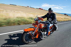 "Randy Aron riding his 1929 Harley-Davidson JD named ""Lucille"" during Stage 14 - (284 miles) of the Motorcycle Cannonball Cross-Country Endurance Run, which on this day ran from Meridian to Lewiston, Idaho, USA. Friday, September 19, 2014.  Photography ©2014 Michael Lichter."