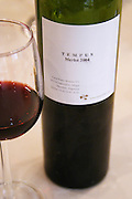 In the Sheraton Hotel Restaurant Bottle and glass of Tempus Merlot 2004, Maipu, Mendoza, Mendoza, Argentina, South America