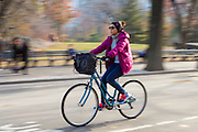 Female cyclist bike riding in winter time in Central Park, New York, USA