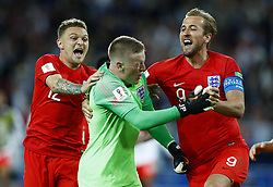 July 3, 2018 - Moscow, Russia - Kieran Trippier and Harry Kane of England celebrate the victory after the penalty shootout of the 2018 FIFA World Cup Russia Round of 16 match between Colombia and England at Spartak Stadium on July 3, 2018 in Moscow, Russia. (Credit Image: © Matteo Ciambelli/NurPhoto via ZUMA Press)