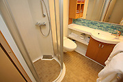 The launch of Royal Caribbean International's Oasis of the Seas, the worlds largest cruise ship..Staterooms.Boardwalk View stateroom bathroom