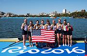 "Rio de Janeiro. BRAZIL     USA W8+. Gold Medalist Bow.  Emily REGAN, Kerry SIMMONDS, Amanda POLK,  Lauren SCHMETTERLING, Tessa GOBBO, Meghan<br /> MUSNICKI, Eleanor LOGAN,  Amanda ELMORE, and cox. Katelin SNYDER, at the, 2016 Olympic Rowing Regatta. Lagoa Stadium, Copacabana,  ""Olympic Summer Games""<br /> Rodrigo de Freitas Lagoon, Lagoa. Local Time 12:24:38  Saturday  13/08/2016<br /> [Mandatory Credit; Peter SPURRIER/Intersport Images]"