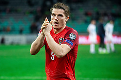 Marcel Sabitzer of Austria celebrates after winning during the 2020 UEFA European Championships group G qualifying match between Slovenia and Austria at SRC Stozice on October 13, 2019 in Ljubljana, Slovenia. Photo by Vid Ponikvar / Sportida