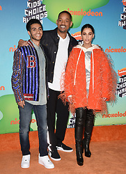 Naomi Scott, Mena Massoud and Will Smith attend Nickelodeon's 2019 Kids' Choice Awards at Galen Center on March 23, 2019 in Los Angeles, CA, USA. Photo by Lionel Hahn/ABACAPRESS.COM