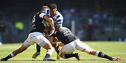 Cape Town-181027 Western Province Sikhumbuzo Notshe  challenged by Jeremy Ward and Daniel du Preez  of  the  Cell C Sharks in the Currie Cup Final at the Newlands Stadium .Photographer:Phando Jikelo/African News Agency(ANA)