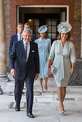 July 9, 2018 - London, London, United Kingdom - Image licensed to i-Images Picture Agency. 09/07/2018. London, United Kingdom. Michael and Carole Middleton arriving for the christening of Prince Louis, the youngest son of the Duke and Duchess of Cambridge at the Chapel Royal, St James's Palace, London  (Credit Image: © Pool/i-Images via ZUMA Press)