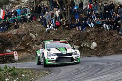 April 7, 2018 - Corse, France - Ole Christian Veiby (NOR) - Stig Rune Skjaermoen (NOR) - SKODA Fabia R5 - WRC2 (Credit Image: © Panoramic via ZUMA Press)