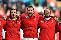 Jeff Hassler, Jebb Sinclair and Doug Wooldridge of Canada sing their national anthem - Mandatory byline: Patrick Khachfe/JMP - 07966 386802 - 06/10/2015 - RUGBY UNION - Leicester City Stadium - Leicester, England - Canada v Romania - Rugby World Cup 2015 Pool D.