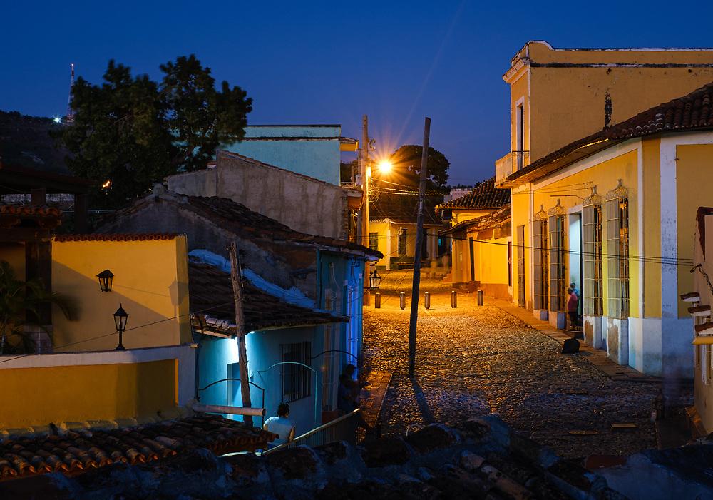 TRINIDAD, CUBA - CIRCA JANUARY 2020: Streets of Trinidad at night