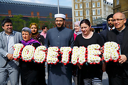 © Licensed to London News Pictures. 06/07/2015. London, UK. 7/7 survivor Gill Hicks (3rd right) walk with faith leaders: Rabbi Laura Janner-Klausner, Imam Qari Asim and Revd Bertrand Olivier from King's Cross station to Tavistock Square in a quiet moment of solidarity and reflection to commemorate the 10th anniversary of 7/7 bombings by remembering those who lost their lives, as well as offering a message of peace and unity between people of different faiths and backgrounds. Photo credit: Tolga Akmen/LNP