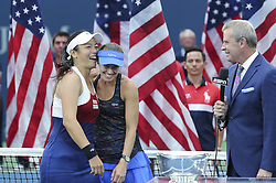 NEW YORK, Sept. 11, 2017  Yung-Jan Chan (L) of Chinese Taipei and Martina Hingis of Switzerland react during the awarding ceremony of the women's doubles match at the 2017 US Open in New York, the United States, Sept. 10, 2017. Yung-Jan Chan and Martina Hingis beat Lucie Hradecka and Katerina Siniakova of the Czech Republic 2-0 to claim the title. (Credit Image: © Wang Ying/Xinhua via ZUMA Wire)