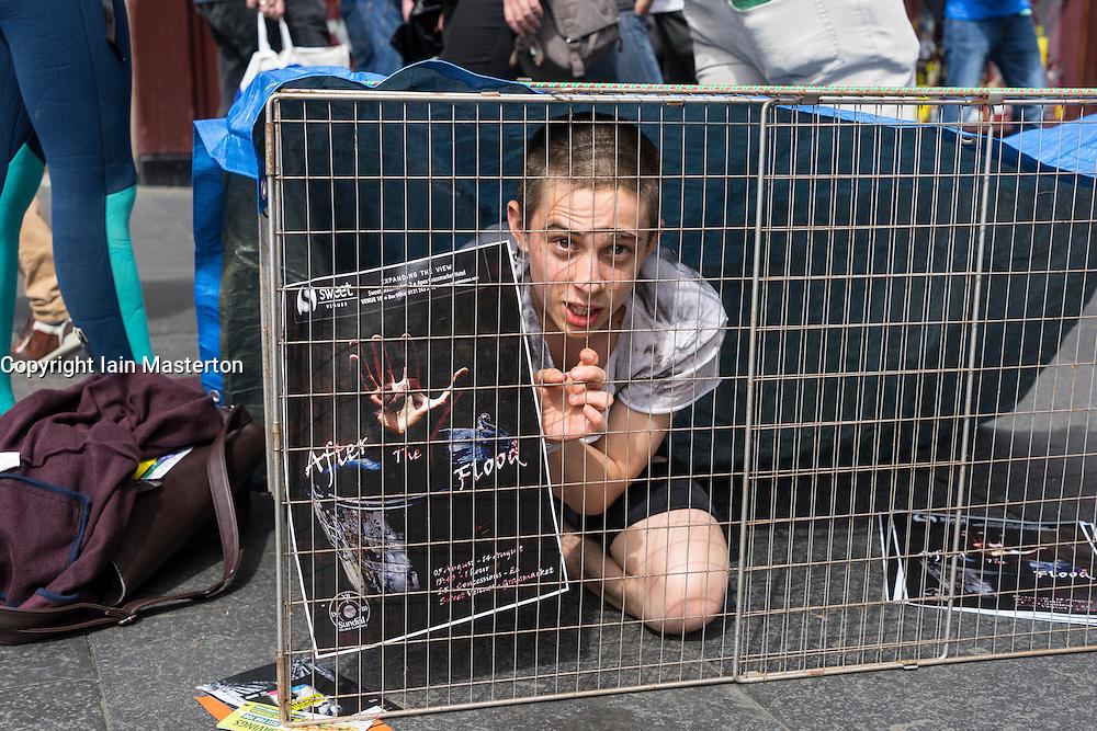 Actor promoting theatre show on  High Street during Edinburgh Fringe Festival 2016 in Scotland , United Kingdom