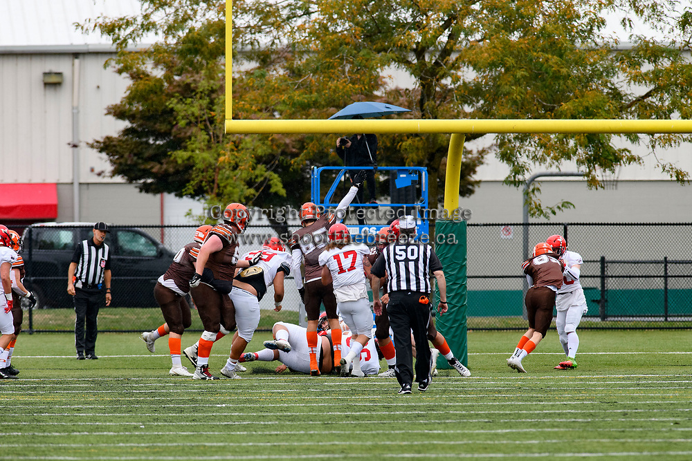 CHILLIWACK, BC - SEPTEMBER 11: Malcolm Miller #3 of Okanagan Sun gets a touchdown against the Westshore Rebels at Exhibition Stadium in Chilliwack, BC, Canada. (Photo by Marissa Baecker/Shoot the Breeze)
