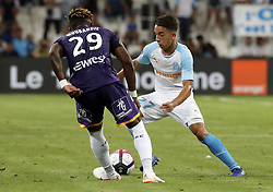 2018?8?10?.    ????????——???????????.    8?10??????????????????????????????.    ????2018-2019??????????????????????4?0??????.    ????????·????...(SP)FRNACE-PARIS-FOOTBALL-LIGUE 1-MARSEILLE VS TOULOUSE..(180810) -- MARSEILLE, Aug. 10, 2018  Maxime Lopez (R) of Marseille vies with Francois Moubandje of Toulouse during their match of French Ligue 1 2018-19 season 1st round in Marseille, France on Aug. 10, 2018. Marseille won 4-0 at home.  49738 (Credit Image: © Fabien Galau/Xinhua via ZUMA Wire)