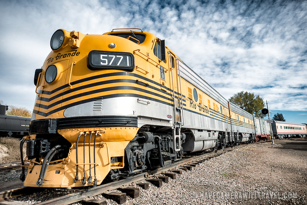A diesel locomotive on display at the Colorado Railroad Museum in Golden, Colorado.