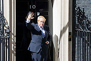 Britains new Prime Minister Boris Johnson gives his first speech outside 10 Downing Street on 24th July, 2019 in London, United Kingdom on the day he was formally appointed British Prime Minister. Boris Johnson took over as Prime Minister of Great Britain and Northern Ireland promising to take the Country out of the European Union by 31st Octomber 2019.