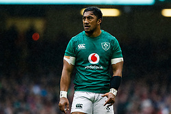 Bundee Aki of Ireland<br /> <br /> Photographer Simon King/Replay Images<br /> <br /> Six Nations Round 5 - Wales v Ireland - Saturday 16th March 2019 - Principality Stadium - Cardiff<br /> <br /> World Copyright © Replay Images . All rights reserved. info@replayimages.co.uk - http://replayimages.co.uk