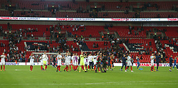 04 September 2017 Wembley : International Football England v Slovakia : England players applaud the fans who appear to have left the stadium.<br /> Photo: Mark Leech