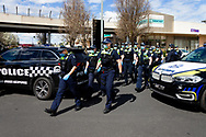 MELBOURNE, VIC - SEPTEMBER 20: Large numbers of Police arrive at Chadstone Shopping Centre as they respond to a small group of protesters who appeared in the Supermarket and quickly dispersed before any arrests could be made during a series of pop up Freedom protests on September 20, 2020 in Melbourne, Australia. Freedom protests are being held in Melbourne every Saturday and Sunday in response to the governments COVID-19 restrictions and continuing removal of liberties despite new cases being on the decline. Victoria recorded a further 14 new cases overnight along with 7 deaths. (Photo by Dave Hewison/Speed Media)