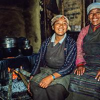 Sherp women in their kitchen in Namche Bazar in the Khumbu region of Nepal 1986.