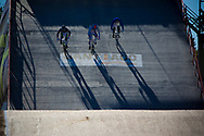 Riders on the concrete start ramp at the UCI BMX Supercross World Cup in Santiago del Estero, Argintina.
