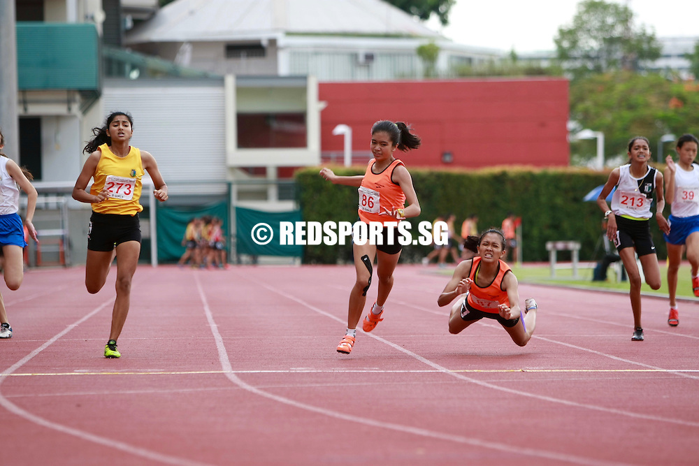 Bishan Stadium, Monday, April 25, 2016 — Diane Pragasam of Singapore Sports School (SSP) claimed her second gold medal of the 57th National Schools Track and Field Championships, finishing the B Division 200m final in a new personal best of 26.24s.