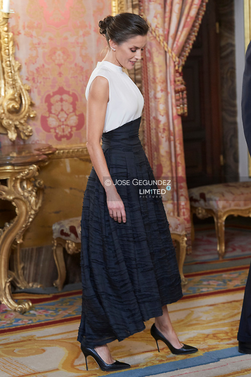Queen Letizia of Spain attends United Nations Conference on Climate Change (COP25) reception at Royal Palace on December 2, 2019 in Madrid, Spain