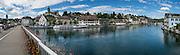 """Rhine River cruise boat """"Untersee und Rhein"""" in Schaffhausen, Switzerland, Europe. This image was stitched from multiple overlapping photos."""
