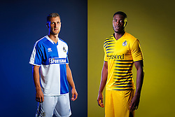 Lee Brown and Nathan Blissett of Bristol Rovers pose in the new Home and Away Strips respectively,  ahead of the 2015/16 Sky Bet League Two campaign - Mandatory byline: Rogan Thomson/JMP - 07966 386802 - 22/07/2015 - SPORT - Football - Bristol, England - Memorial Stadium - Bristol Rovers Kit Launch.