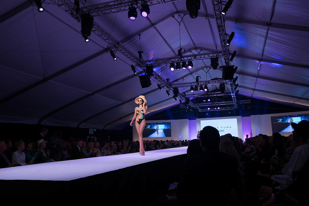 2018 Fashion Week El Paseo, in Palm Desert, California. Fashion week kicks off in the desert with the opening night theme of California Dreamin' featuring designers Michael Costello, Trina Turk, Mr. Turk and Ali Rahimi for Mon Atelier. Trina Turk and Mr. Turk runway show. Photos by Tiffany L. Clark