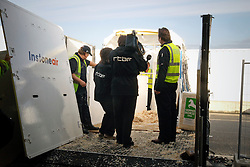 Henry Bullen, Director Peden Bloodstock in interview with Belgian Television<br /> Departure of the horses from Liege Airport to Lexington<br /> Alltech FEI World Equestrian Games - Kentucky 2010<br /> © Dirk Caremans