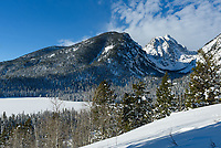 It was a beautiful morning snowshoeing in Grand Teton National Park. This is the view from above Taggert Lake.