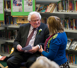 Edinburgh's Bailie Elaine Aitken opened Firrhill High School's 'The Anne Frank: A History For Today' exhibition  today. Baillie Aitken was joined by Heather Boyce from the Anne Frank Trust and second generation Holocaust survivors who spoke of their family members' memories of the war. The ceremony was attended by pupils from Firrhill High, local primary schools and retirement home residents from Old Farm Court and Caiystane Court. Stephan Brent, who was one of the 10,000 children sent to the UK as part of the Kindertransport, spoke movingly of his experience of arriving in Scotland to old and young alike. Mr Brent had to be comforted towards the end of his talk by Firrhill head teacher Ros Nixon. by  29 April 2014 (c) GER HARLEY | StockPix.eu