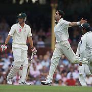 Umar Gul celebrates after dismissing Nathan Hauritz during the Australia V Pakistan 2nd Cricket Test match at the Sydney Cricket Ground, Sydney, Australia, 5 January 2010. Photo Tim Clayton