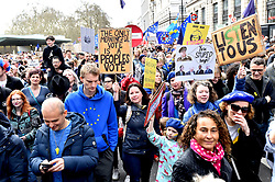 A general view of Anti-Brexit campaigners as they take part in the People's Vote March in London. Picture credit should read: Matt Crossick/EMPICS