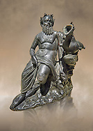 Roman Bronze sculpture of Silenus from atrium of the Villa of the Papyri in Herculaneum, Museum of Archaeology, Italy ..<br /> <br /> If you prefer to buy from our ALAMY STOCK LIBRARY page at https://www.alamy.com/portfolio/paul-williams-funkystock/greco-roman-sculptures.html . Type -    Naples    - into LOWER SEARCH WITHIN GALLERY box - Refine search by adding a subject, place, background colour, museum etc.<br /> <br /> Visit our ROMAN WORLD PHOTO COLLECTIONS for more photos to download or buy as wall art prints https://funkystock.photoshelter.com/gallery-collection/The-Romans-Art-Artefacts-Antiquities-Historic-Sites-Pictures-Images/C0000r2uLJJo9_s0